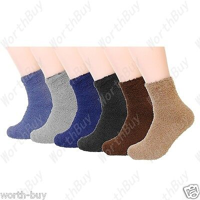 New 6 or 12 Pairs Mens Soft Cozy Fuzzy Winter Warm Solid Slipper Socks Size 9-13