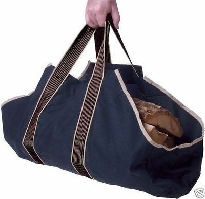 Large Heavy Duty Canvas Log Carrier Bag Fireplace Wood Holder Storage Tote 30737