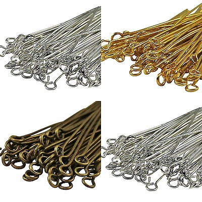 50-200PCS Gold&Silver Plated Metal Eye Pins Craft Jewelry Findings 16-60mm