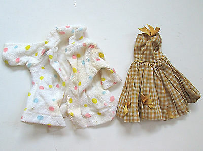 Lot vintage Barbie clothes polka dot robe Japan pleated check swing dress 1950's