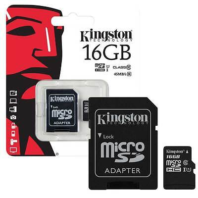 16GB KINGSTON MicroSD SDHC Memory Card 45MB/s UHS 1 Class 10 Inc SD Card Adapter