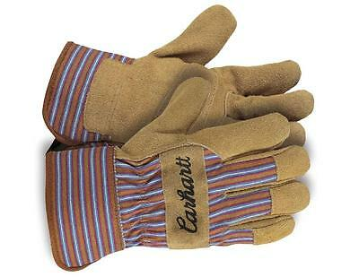 CARHARTT Womens Ultra-Soft Hands SUEDE LEATHER PALM CHORE GLOVES Blue Stripe NEW