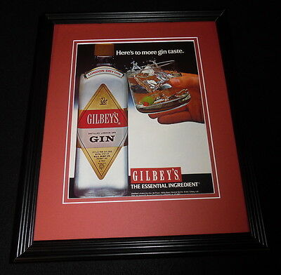 1987 Gilbey's Gin Framed 11x14 ORIGINAL Vintage Advertisement