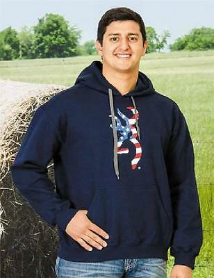 "Mens ""Old Glory"" BROWNING BUCKMARK Pull Over HOODIE Red White Navy Blue AMERICAN"
