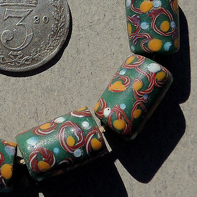 10 small old antique venetian tubular fancy beads african trade #1193