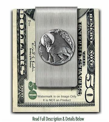 LONE WOLF SPIRIT MOON STAINLESS STEEL MONEY CLIP WOLVES GIFT SALE FREE SHIP sm*