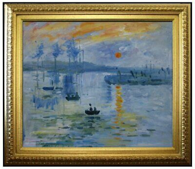 Framed Claude Monet Impression Sunrise Repro, Hand Painted Oil Painting 20x24in