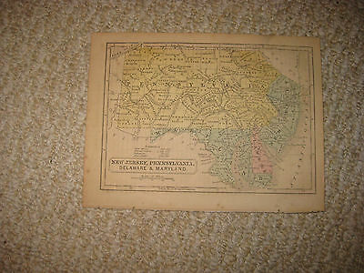 Antique 1840 New Jersey Pennsylvania Delaware Maryland Handcolored Map Detailed