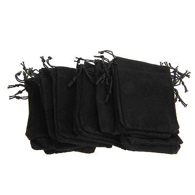 25 X Black Velvet Drawstring Jewelry Gift Bags Pouches HOT