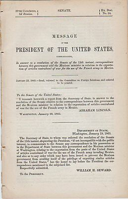 1863 Message From President Lincoln