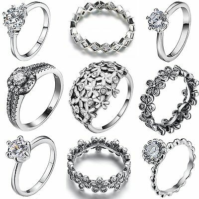 Size 6-9 Fashion Women 925 Luxury Jewelry Silver Ring Wedding Engagement Rings