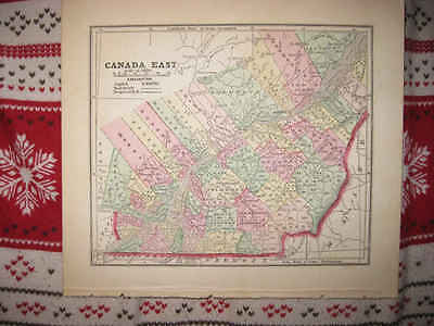 Early Superb Antique 1856 Canada East Quebec Morse Handcolored Map Railroad Rare