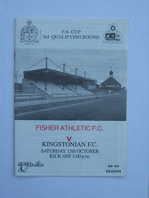 Fisher Athletic v Kingstonian FA Cup 1988/89 Programme