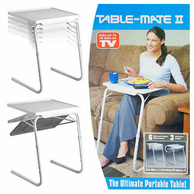 NEW TABLE VALET Foldable Folding Adjustable Portable Side Bed TV Laptop Table