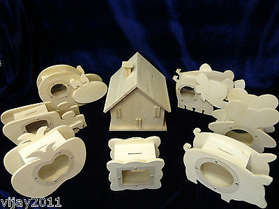 Selection of wood Money Boxes select your  choice kids craft decoupage fun boxes