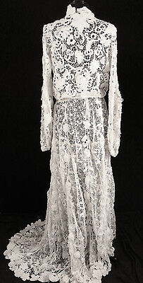 Exceptional Rare French Victorian 1800S Irish Crochet Lace Wedding Dress Sz 4-6