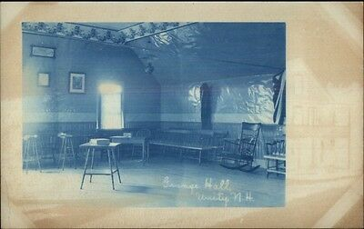 Unity NH Grange Hall Interior Cyanotype c1910 Real Photo Postcard