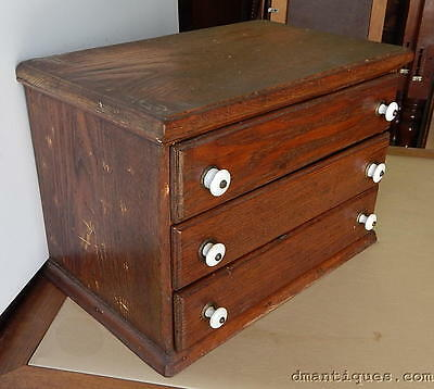 Antique 19th Century Primitive Oak & Pine Small 3-Drawer Storage Chest