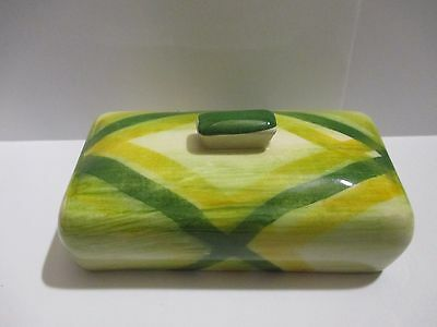 Vernonware Vernon Kilns Gingham Green Plaid Covered Butter Lid Only