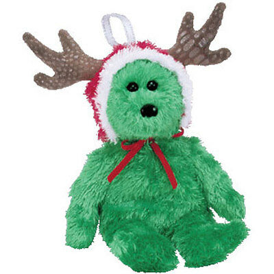 TY Jingle Beanie Baby - 2002 HOLIDAY TEDDY (Green Version) (5.5 inch) - MWMTs