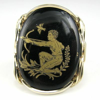 Saggitarius Zodiac Black Glass Cameo Ring 14K Rolled Gold Jewelry Any Size