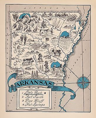 Rare ARKANSAS Map FUNKY 1930s Pictorial Map of Arkansas Whimsical Map BLU 2413