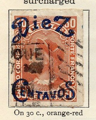 Chile 1903 Early Issue Fine Used 10c. Surcharged 033547
