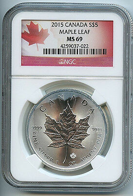 2015 Canadian Maple Leaf $5 Silver Dollar MS69 NGC .9999 Certified Coin Cloudy