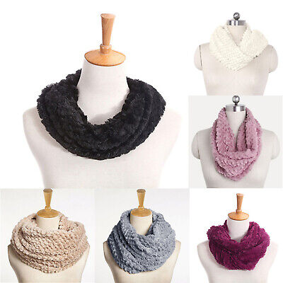 Women Winter Warm Infinity Circle Cable Knit Cowl Neck Faux Fur Scarf Shawl Gift