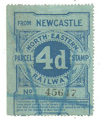 4D North Eastern Railway Night Express Parcel Stamp From Newcastle Printed