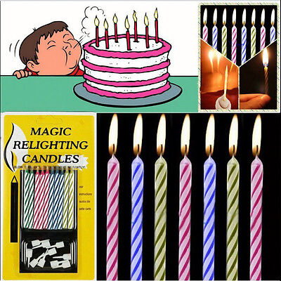 10 X Magic Relighting Candle Relight Birthday Party Colorful Fun Trick Cake Xmas