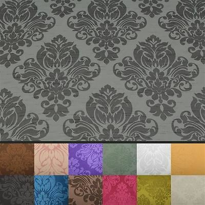 Floral Damask Faux Silk Jacquard Curtain Upholstery Fabric Material 12 Colours