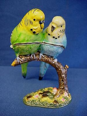 Juliana Treasured Trinkets Budgerigar Pair Of Budgies Metal Trinket Box 15479