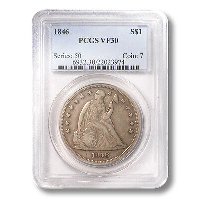 USA Seated Liberty Dollar $1 1846  PCGS VF 30 Great Type Coin