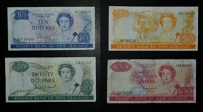 New Zealand. $10 to $100 paper banknote selection, circulated.