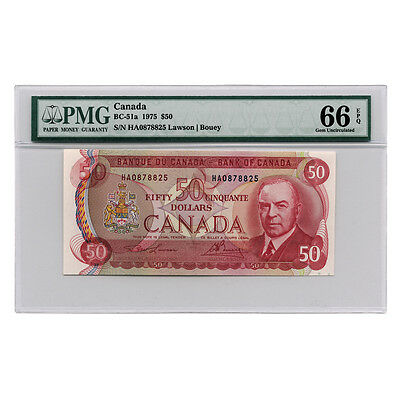 1975 Bank of Canada Lawson/Bouey $50 PMG 66 EPQ Gem Uncirculated - BC-51a