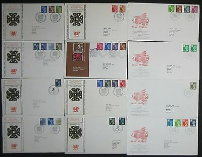 (80150) CLEARANCE GB FDC's x12 Wales - see description