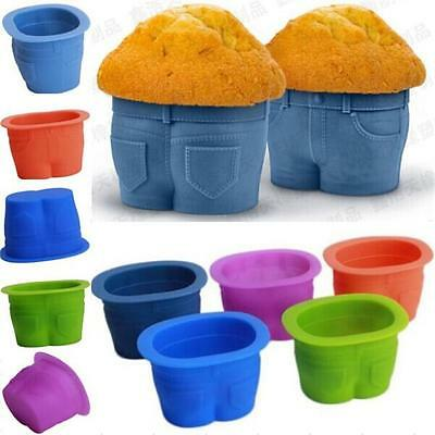 NEW Muffin Tops Baking Cups Jeans Shaped Silicone Baking Cups Cupcake Mould - LD