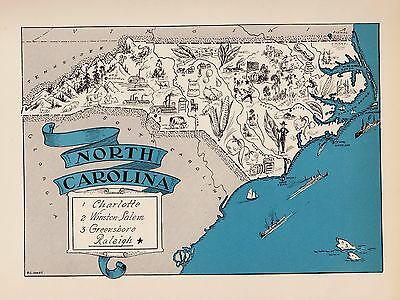 1930s NORTH CAROLINA Picture Map Original Pictorial Map Whimsical Map BLU 2433