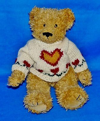 "Ty HEARTLEY/Heartly Tan/Gold Bear (Jointed 11"") Attic Treasure 1999 NT"