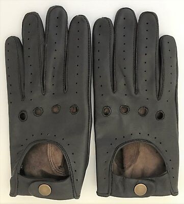 New Super Soft Genuine Nappa Leather Brown Mens Driving Gloves Retro Chauffeur