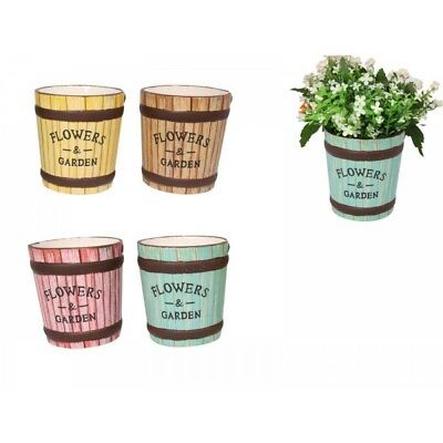 1pce 12cm Glowers and Garden Ceramic Pot in Pastel Colours Vintage Style