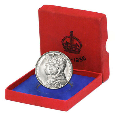 GB 1935 UNC Silver Jubilee King George V/Queen Mary Sterling Medal w/Box