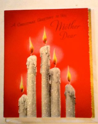 VINTAGE 40's CHRISTMAS CARD  GLITTER CANDLES FOR MOTHER DEAR UNUSED