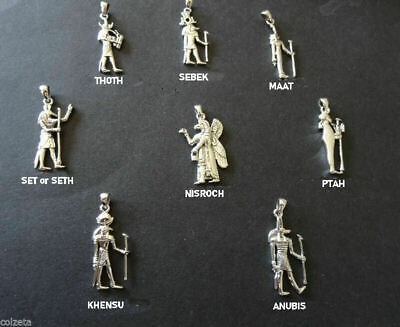 "EGYPTIAN DEITIES  PENDANTS .925  SILVER  with 16"" nylon cord & silver fitments"