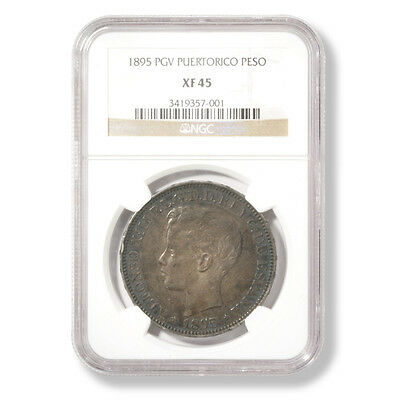 1895 PGV Puerto Rico Peso graded by NGC as XF-45