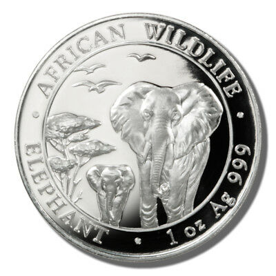 2015 -  Somali Republic -  100 Shillings - One Ounce Silver Elephant Coin