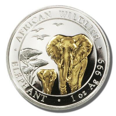 2015 - Somali Republic  - 100 Shillings - One Ounce Gold and Silver Elephant Coi