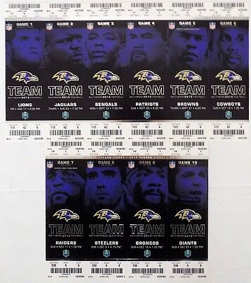 2012 Baltimore Ravens Home Game Unused Tickets Complete Set Ray Lewis Final Year