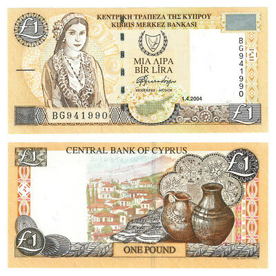 2004 Cyprus Village Scene One Pound Crisp Uncirculated Banknote